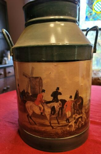 """Small Painted Milk Can Horses Hunt Scene 14"""" Tall"""