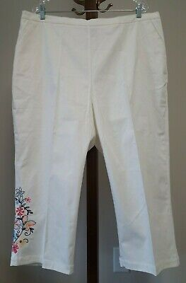 Denim & Co. 2X NWOT White Floral Embroidered Stretch Crop Pants w Classic Waist Stretch Floral Crop Hose