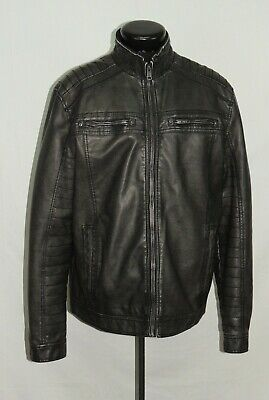 BKE Buckle Athletic Fit Faux Leather Jacket Motorcycle Riding XL Winter Coat GUC