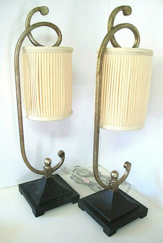 """Set of 2 Table/Accent Luminaire Lamps~26.75"""" Tall~Distressed Gold/Silver"""