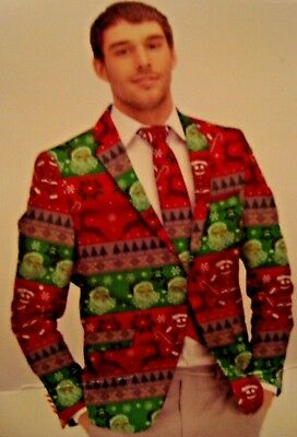 New Ugly Sweater Christmas Party Suit Men's 2 Piece Blazer & Tie Size Small for sale  Shipping to Canada