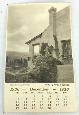 Villa Curonia Florence Italy Monthly Calendar Photo Dec 1936 by Paul J. Weber