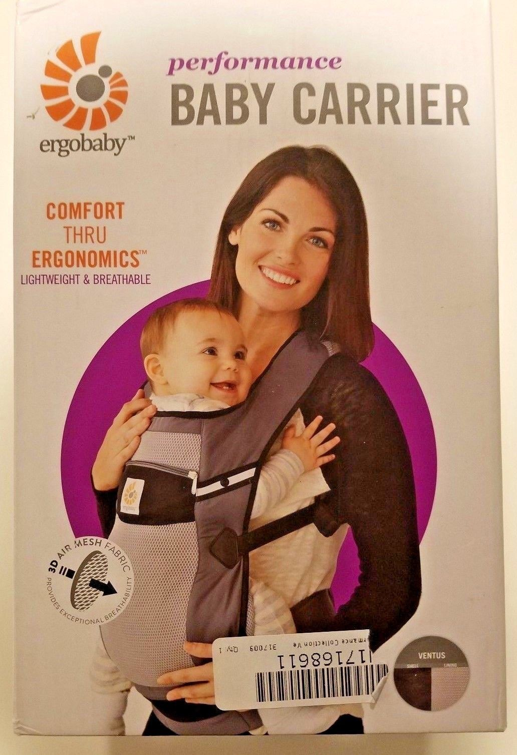 30c739d8e7f Ergobaby Performance 3 Position Baby Carrier - Ventus Graphite for ...