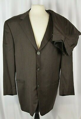 Istante By Versace Men's Suit Size 56 EU Brown Three Button 46 US Pleated Wool