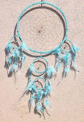 Large Blue Dream Catcher Handmade w/ Leather & Feather Home Wall Decor ( Qty 2 )