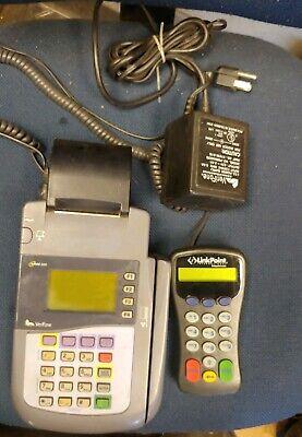 Verifone Omni 3200 Credit Card Terminal Processor With Power Cord Pin Pad.