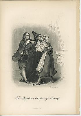 Love Doctor Costume - ANTIQUE MEDIEVAL COSTUME PHYSICIAN DOCTOR ROMANCE LOVE PRETTY WOMAN OLD PRINT