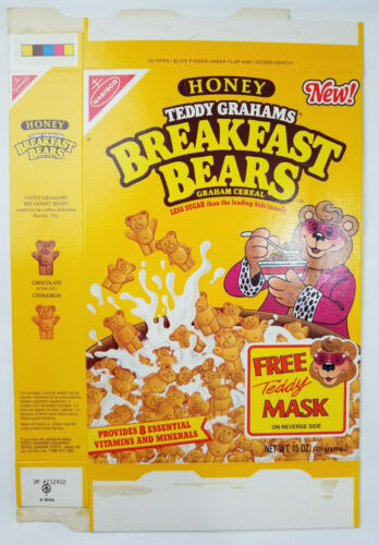 Nabisco Honey Teddy Grahams Vtg 1989 Rare Breakfast Bears Cereal Empty Flattened