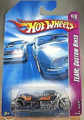 2008 Hot Wheels #150 Team: Custom Bikes 2/4 AIRY 8 Bike Purple Metal Base wMC5Sp