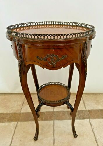 Antique French Table Two Tier Plant Stand Jardiniere with Brass rim Bottom shelf