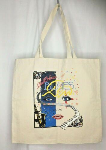 "NEW ORLEANS Mardi Gras Blues Vintage Canvas Tote Bag 18"" x 17"""