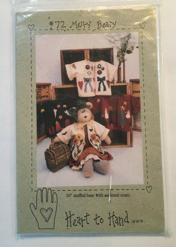"""Heart to Hand Patern """"Merry Beary"""" #72 Pattern 30"""" stuffed bear w/ coat UNCUT"""