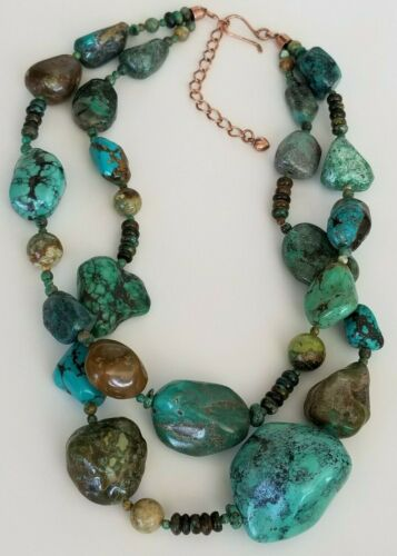 Jay King DTR Copper Turquoise Double Strand Necklace - 211 gm