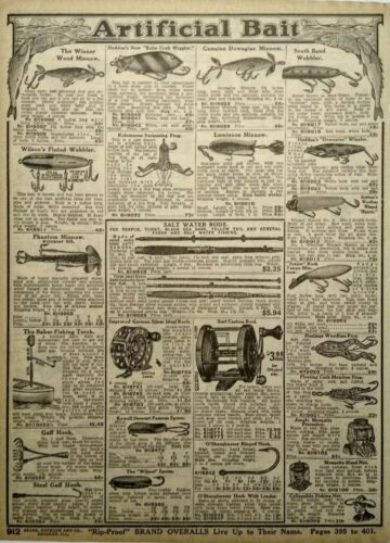 1917 Antique Artificial Fishing Bait Hooks Lures Art Sears Catalog Page Print Ad