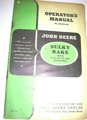 Vintage John Deere Operators  Parts Manual -8 -12 Foot Sulky Rake