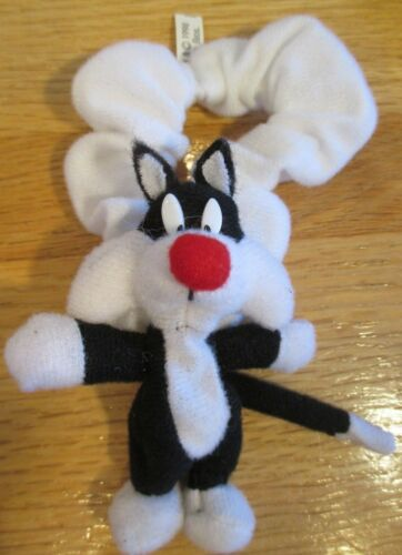 "DARLING VINTAGE 1998 WARNER BROS 4"" STUFFED SYLVESTER CAT PONYTAIL HOLDER"