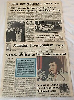 ELVIS Presley  Death Newspaper Memphis Press & The Commercial Appeal