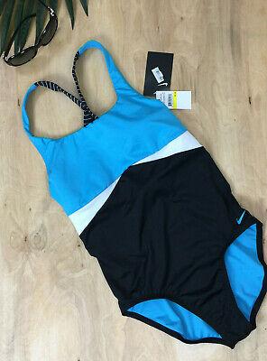 NIKE One Piece Crossback Swimsuit Blue Black White Medium A11, usado comprar usado  Enviando para Brazil