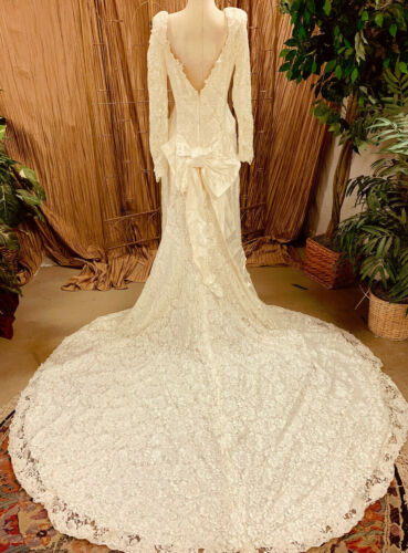 OFF WHITE IVORY ALL LACE WEDDING GOWN DRESS LONG SLEEVE TRAIN  SIZE LARGE