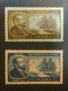 POLAND STAMPS MNH Fi898-9 Sc797-8 Mi1043-44 - Conrad Korzeniowski, 1957, clean - Reda, Polska - POLAND STAMPS MNH Fi898-9 Sc797-8 Mi1043-44 - Conrad Korzeniowski, 1957, clean - Reda, Polska