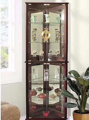 Brown Lighted Glass 3-Sided Corner Display Curio Cabinet Furniture Home Living