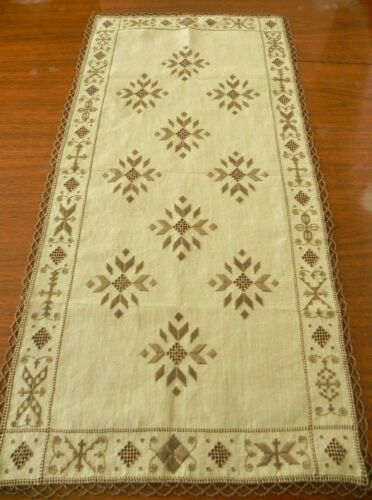 "Antique Lefkara Hand-Embroidered Table Runner 35"" x 17""     #10b"