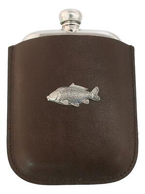 Common Carp Pewter 4oz Traditional Hip Flask In Leather Pouch FREE ENGRAVING 80