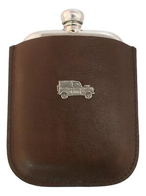 Off Roader Pewter 4oz Traditional Hip Flask In Leather Pouch FREE ENGRAVING 214