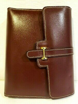 Lillian Vernon Leather Purple Binder Organizer Compact Planner 6 Rings Pages