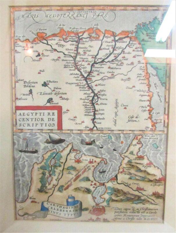 Antique Original Abram Ortelius Aegypti Re Centior Scripto Map of Egypt