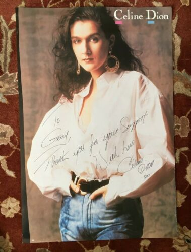 CELINE DION  On Epic Records  rare original promotional poster  AUTOGRAPHED!!!