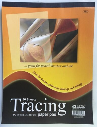"""Tracing 30 Sheet 9"""" x 12"""" Premium Quality Paper Pad Sketches Book Preliminary"""