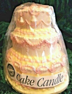 Wilton Candle Shaped Like 3 Tier Cake Pink & Ivory Wedding or Shower or? Ivory Wedding Cake Candle