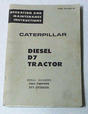Caterpillar Catd7 Diesel Tractoroem Operation Maintenance Instructions1961
