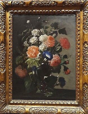 Fine 17th Century French Old Master Flowers Antique Oil Painting