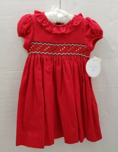 Edgehill Collection Girls Red Valentine Holiday Smocked Party Dress 12 M 1 NEW