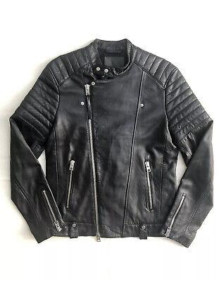 Men's All Saints Zip Leather Biker Jacket Great Condition Black - Size Small