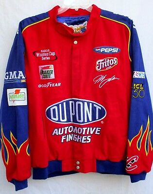 JEFF HAMILTON..COTTON..RACING..JACKET..SATIN LINING..FLAME SLEEVES..sz XL Cotton Racing Jacket