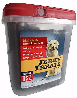 Jerky Treats Dog Snacks Made With American Beef Calcium  Omega 3  Vitamins 60Oz