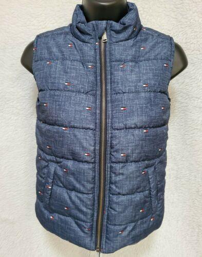 Tommy Hilfiger Boys Blue Red White Logo Zipper Puffer Vest Jacket Coat Size 7