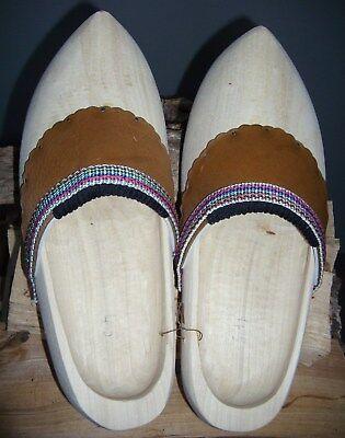 Holzschuhe handgefertigt LederbesatzVerkleidung Kostüm Schuhgröße 23-49