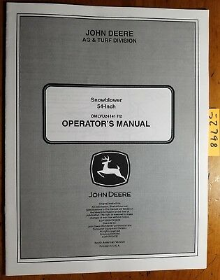 John Deere 54 Snowblower Sn 20001- For 2520 2320 2305 2720 1023e Operator Manual