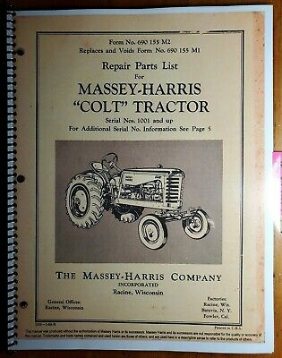 Massey Harris Colt No 21 Tractor Sn 1001- Repair Parts List Manual 690 155 M2