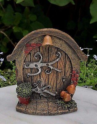 Miniature Dollhouse FAIRY GARDEN Gnome ~ Mini Door with Plant & Mushrooms ~ NEW