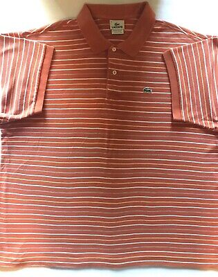 Lacoste Mens Orange Striped Polo Short Sleeve Shirt Size 8 XXL