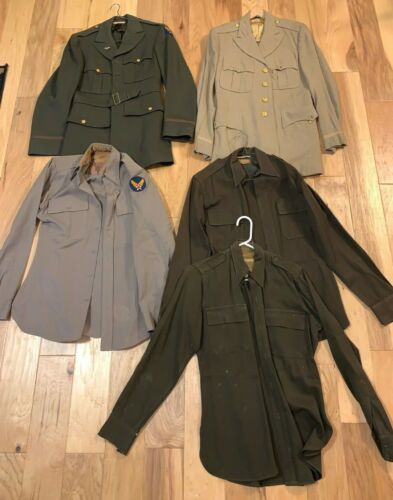 NAMED WWII USAAF OFFICER military UNIFORM lot shirt tunic INSIGNIA Khaki Summer