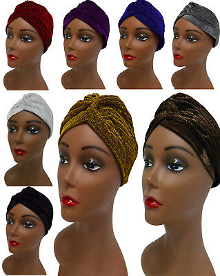 1pc Sparkle and Metallic High Quality Very Stretchable Turban Hat Cap  - Glitter Turban Hat