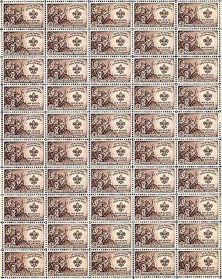 1950 - BOY SCOUTS - Vintage Full Mint Sheet of 50 U.S. Postage Stamps
