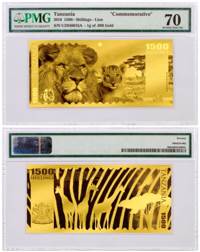 2018 Tanzania Big 5 - Lion Foil Note 1g Gold Prooflike Coin PMG Unc 70 SKU51819