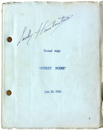 STREET SCENE (1931) Revised film script by Elmer Rice dated Jun 20, 1931